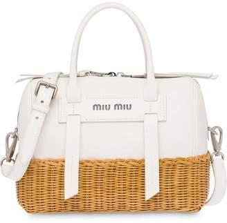 Miu Miu wicker and madras bag