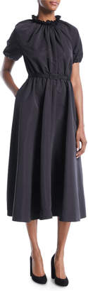 Co Ruched Mock-Neck Short-Sleeve Belted Faille Midi Cocktail Dress with Pockets