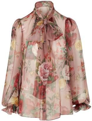 Dolce & Gabbana Rose baroque silk blouse