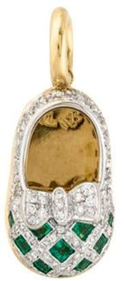 Aaron Basha 18K Diamond & Tsavorite Baby Shoe Pendant yellow Aaron Basha 18K Diamond & Tsavorite Baby Shoe Pendant