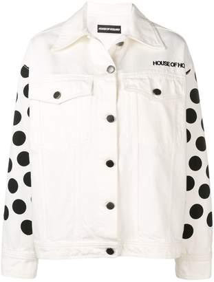 House of Holland polka-dot denim jacket