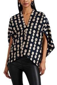 Zero Maria Cornejo Women's Mala Dot-Jacquard Shrug Jacket - Ink Jet, greige