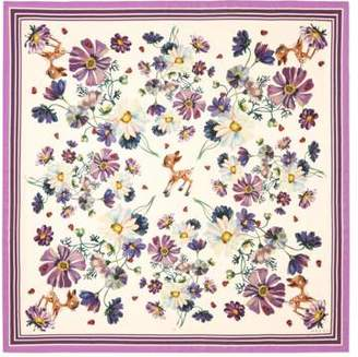 Gucci Flowers and fawn print silk shawl