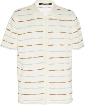 Jacquemus La Chemise Maille Striped Linen Polo Shirt