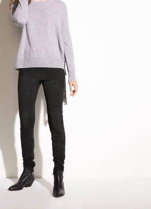 Zip Ankle Stretch-Suede Legging