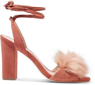 Nicolette Faux Fur-trimmed Suede Sandals - Antique rose