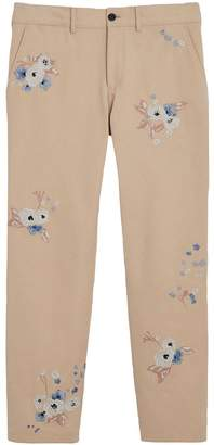 Burberry Slim Fit Floral Embroidered Cotton Chinos