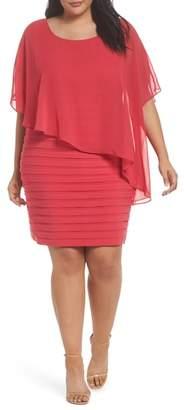 Adrianna Papell Chiffon Overlay Shutter Pleat Sheath Dress