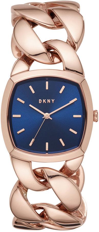 DKNYDKNY Women's Chanin Rose Gold-Tone Stainless Steel Chain Bracelet Watch 32mm NY2568