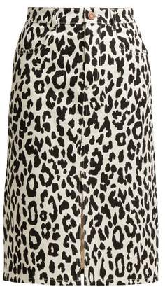 See by Chloe Leopard Print Denim Midi Skirt - Womens - Black White