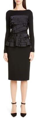 Jason Wu Collection Taffeta Trim Jersey Long Sleeve Dress