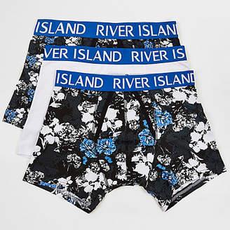 River Island Blue floral print trunks multipack