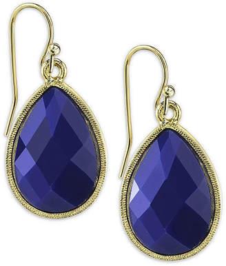 1928 Jewelry 1928 Gold-Tone Blue Teardrop Earrings