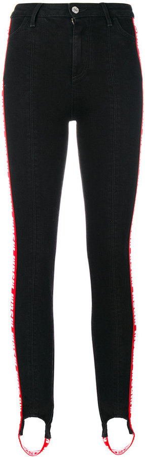 MSGM logo high waisted trousers