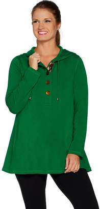 Susan Graver Weekend Brushed Back Knit Hooded Pullover