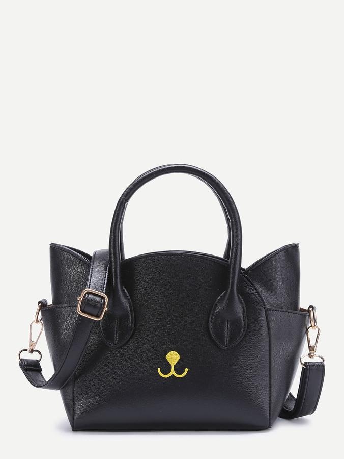 Embroidery Detail Cat Shaped Design Shoulder Bag