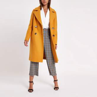River Island Womens Yellow wool double breasted coat