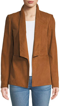 Veronica Beard Marten Open-Front Suede Jacket