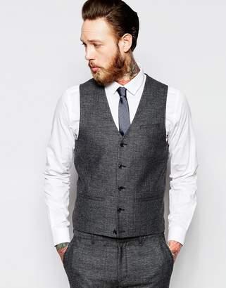 Asos DESIGN Super Skinny Vest In Gray Tweed