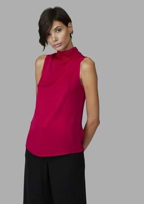 Giorgio Armani Pure Silk Top With High Draped Collar