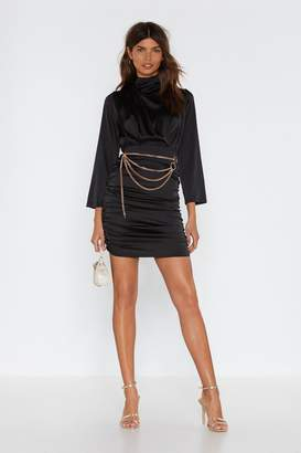 Nasty Gal Don't You Want Me Ruched Satin Dress