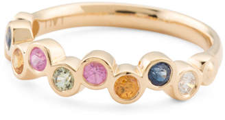 14k Gold Diamond And Multicolor Sapphire Bubble Ring