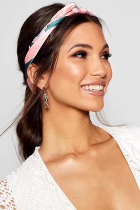 boohoo Floral Print Satin Headscarf