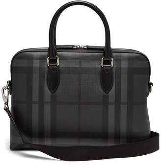 Burberry The Barrow House-check leather briefcase