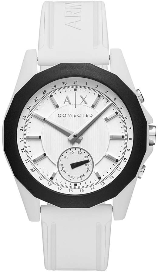 Armani Exchange  A|X Armani Exchange Men's Connected White Silicone Strap Hybrid Smart Watch 44mm AXT1000
