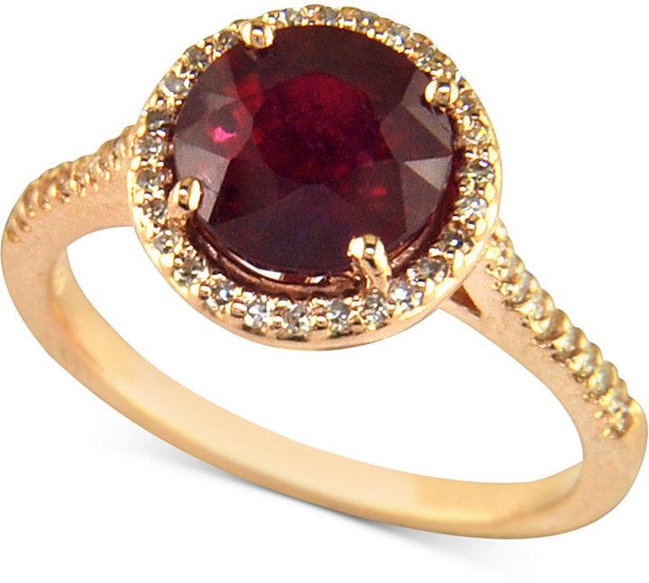 Rosa by EFFY Ruby (2-5/8 ct. t.w.) and Diamond (1/5 ct. t.w.) in 14k Rose Gold