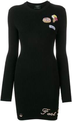 Philipp Plein embellished patch knitted dress