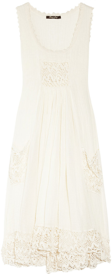 Sestra Moja Cotton-cheesecloth and antique lace dress