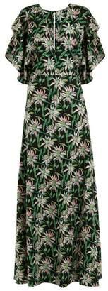 Dodo Bar Or - Beverly V Neck Floral Print Dress - Womens - Black Green