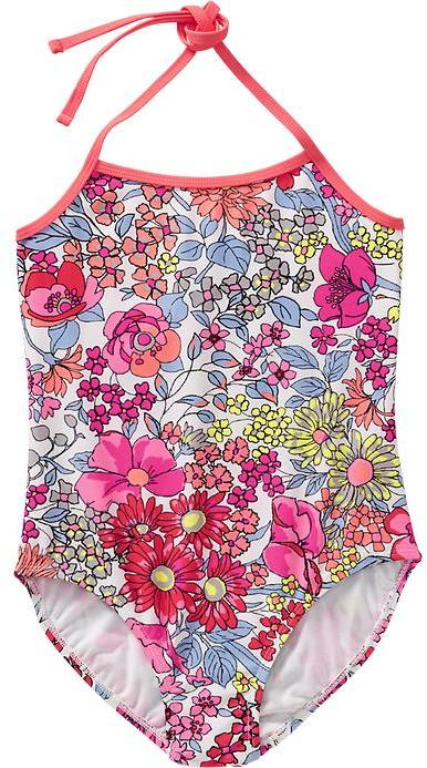 Old Navy Girls Floral-Print Halter Swimsuits