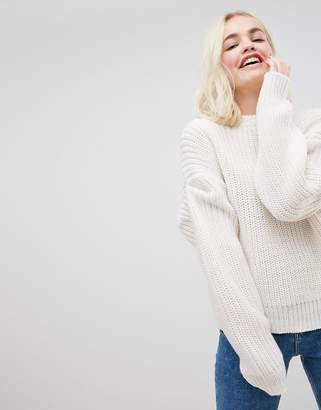 Asos Design Oversized Jumper with Pleat Sleeve Detail