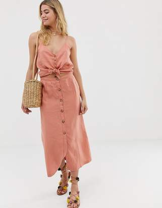 rhythm Amalfi linen button front skirt in desert pink