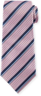 Ermenegildo Zegna Diagonal Striped Silk Tie, Pink/Blue