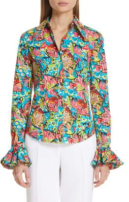 Michael Kors Crushed Print Bell Sleeve Shirt
