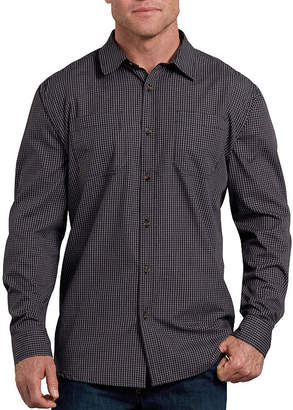 Dickies Mens Long Sleeve Checked Button-Front Shirt