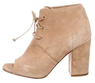 Delman Suede Peep-Toe Ankle Boots