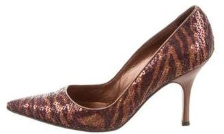 Manolo Blahnik Sequined Pointed-Toe Pumps