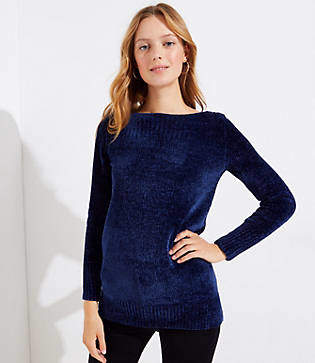 LOFT Chenille Boatneck Tunic Sweater