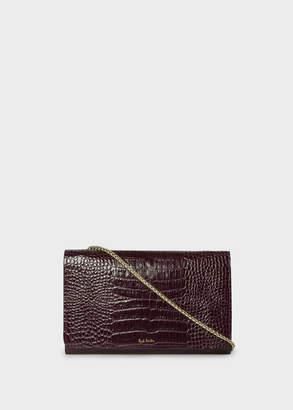 Paul Smith Women's Burgundy Mock-Croc Leather Clutch Bag