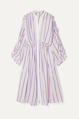 By Malene Birger Genua Oversized Ruched Striped Cotton-blend Midi Dress - Pastel pink