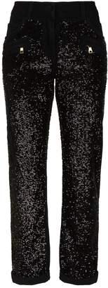 Balmain Sequin Boyfriend Jeans