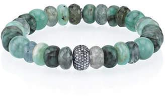 Sheryl Lowe 10mm Green Mix Bead Bracelet with Diamond Donut