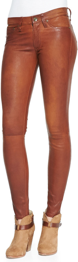 rag & bone/JEAN The Leather Skinny Pants, Washed Cognac