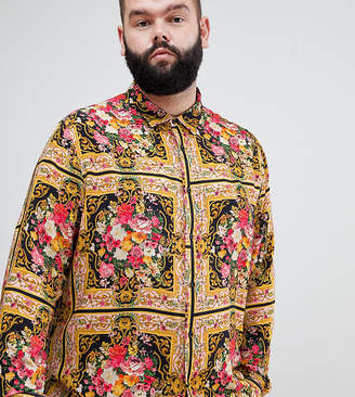 Asos DESIGN Plus regular fit floral baroque print shirt in viscose