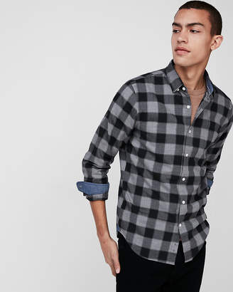 Express Plaid Cotton Button-Down Shirt