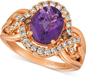 LeVian Le Vian Amethyst (2-1/2 ct. t.w.) & Diamond (1/2 ct. t.w.) Ring in 14k Rose Gold